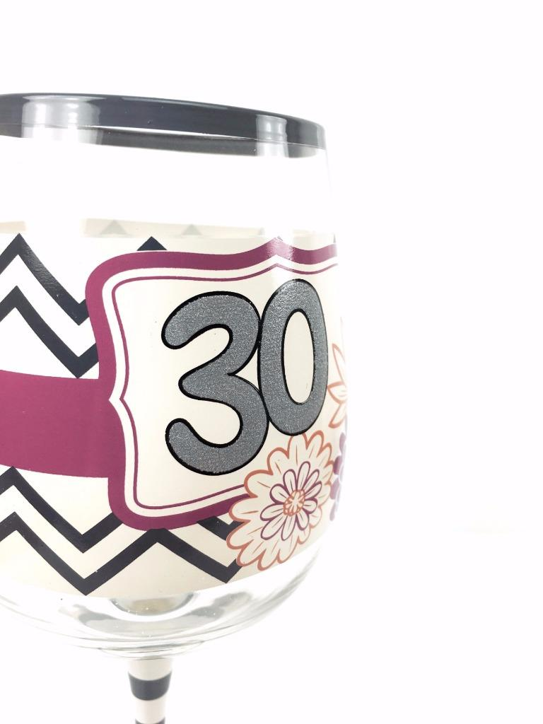 30th Birthday Gift Chic And Funky Wine Glass In Gift Box