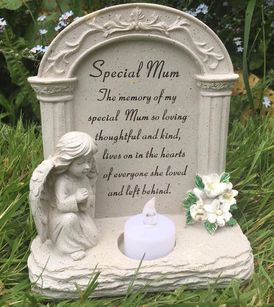 Christmas Grave Decorations Uk: Special Mum Graveside Memorial Plaque Praying Angel Tea