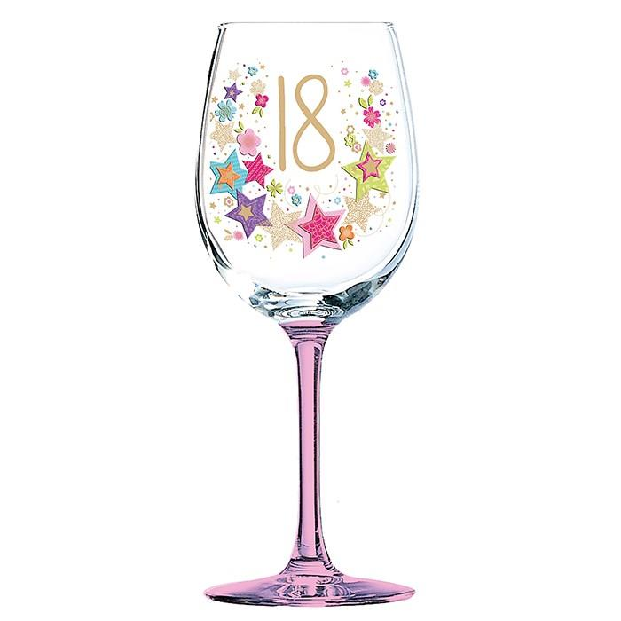 Gorgeous 18th Birthday Wine Glass In Gift Box GLS0123