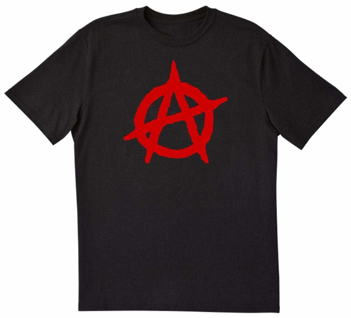 anarchy anarchist symbol funny unique tee t shirt black w red black ebay. Black Bedroom Furniture Sets. Home Design Ideas