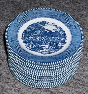 Royal China Blue White Currier & Ives Bread Plates