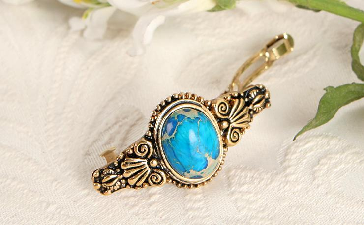 Blue Copper Turquoise Gold GP Hair Barrettes Clips pins Jewelry