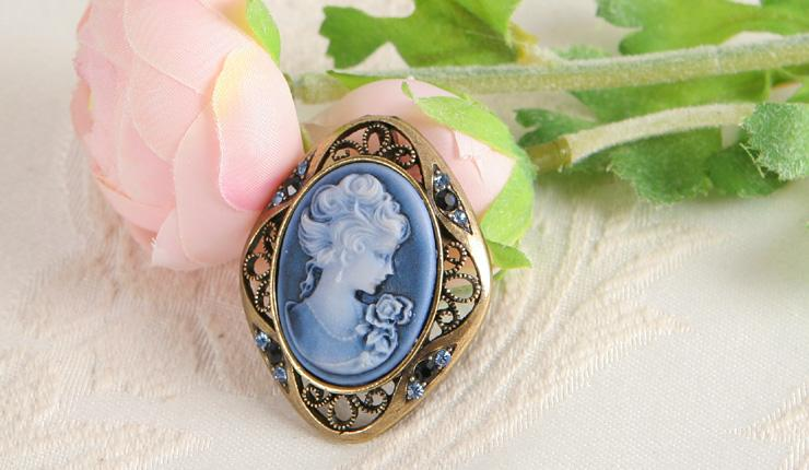 Crystal CAMEO Antique Gold GP Pin Brooch & pendant for necklace Blue