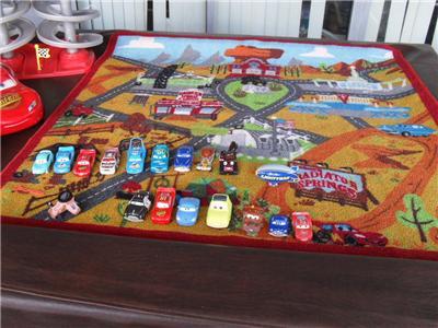 HUGE Lot Disney Pixar Cars Play Rug Speedway 20 Cars Rusteze Moving Eyes  WOW EUC