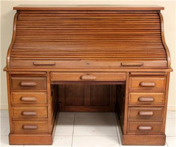 Antique Oak Roll Top Desk C1920 Twin Pedestal Complete