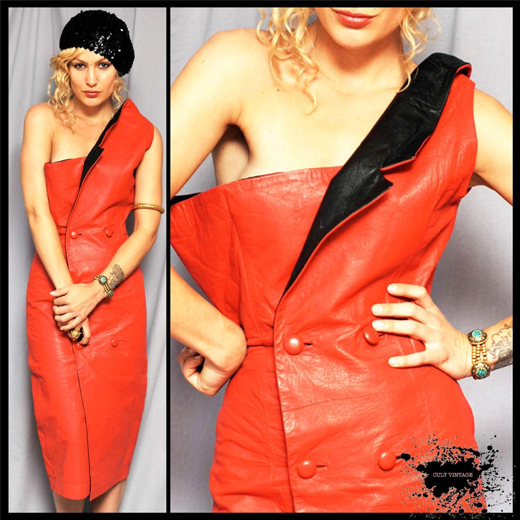 AVANT-GARDE-Vintage-RED-LEATHER-Fitted-ORIGAMI-DRESS-XS