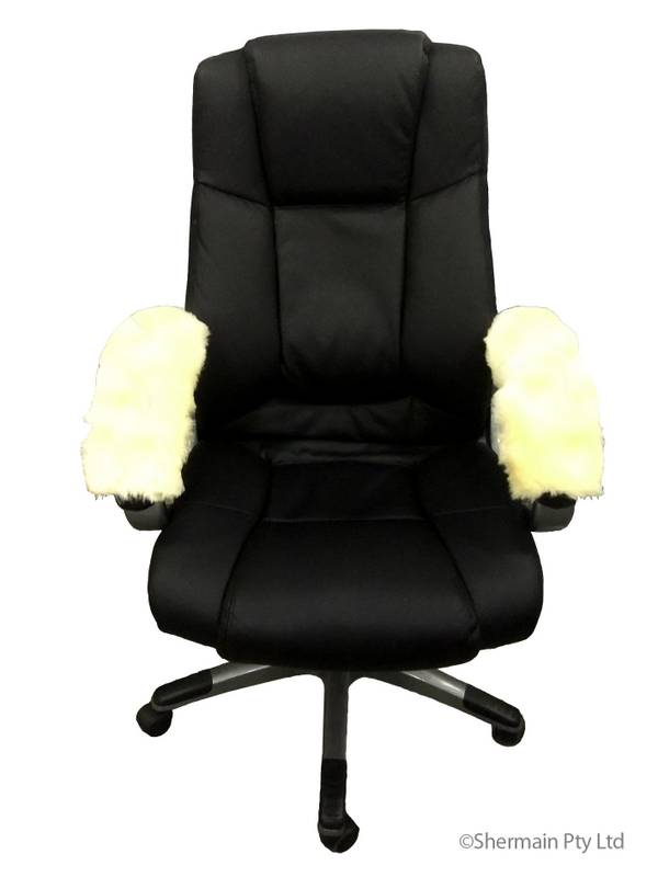 Sheepskin armrest cover office arm chair wheelchair scooter genuine