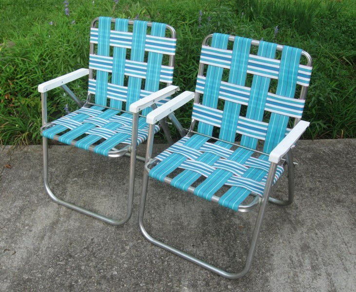 2 Sunbeam Webbed Aluminum Folding Lawn Chairs Patio Beach Camping Tailgating