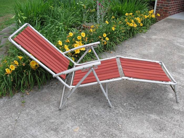 Redwood Aluminum Chaise Lounge Lawn Chair Vintage Pool Deck Camping Pat