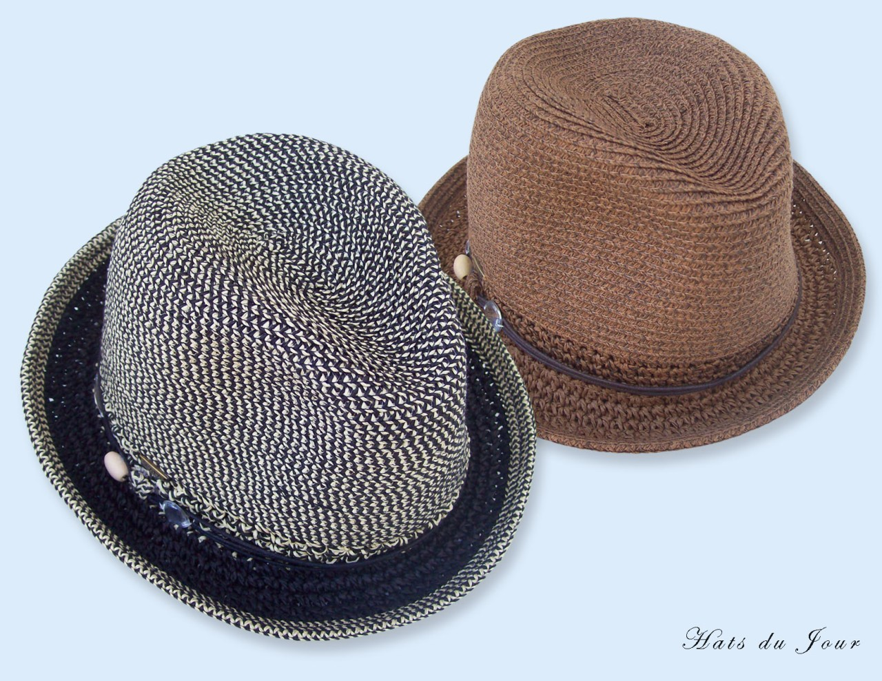 Scala-Womens-Black-or-Brown-Fedora-w-Faux-Leather-Band-Accented-and-Jewels