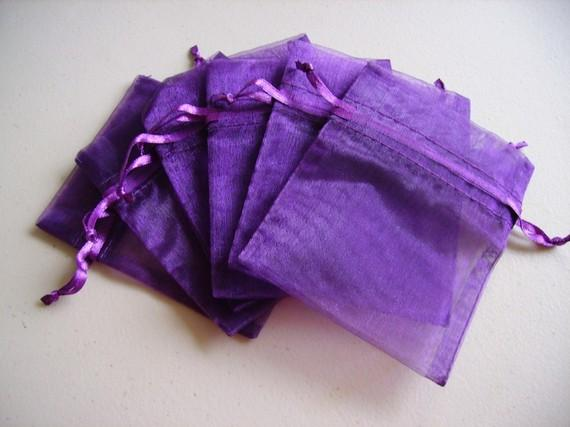 100 purple organza jewelry gift pouch bags for wedding