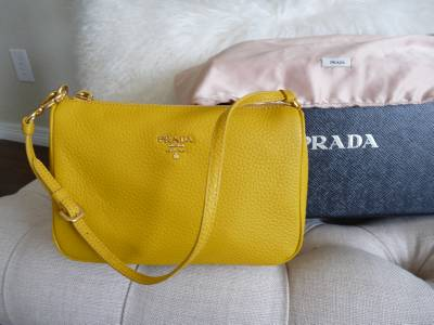 Prada Daino Mini Hobo Bag Yellow New with Tags and Prada Box | eBay