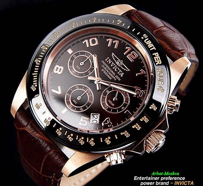 invicta mens speedway quartz chronograph brown brown