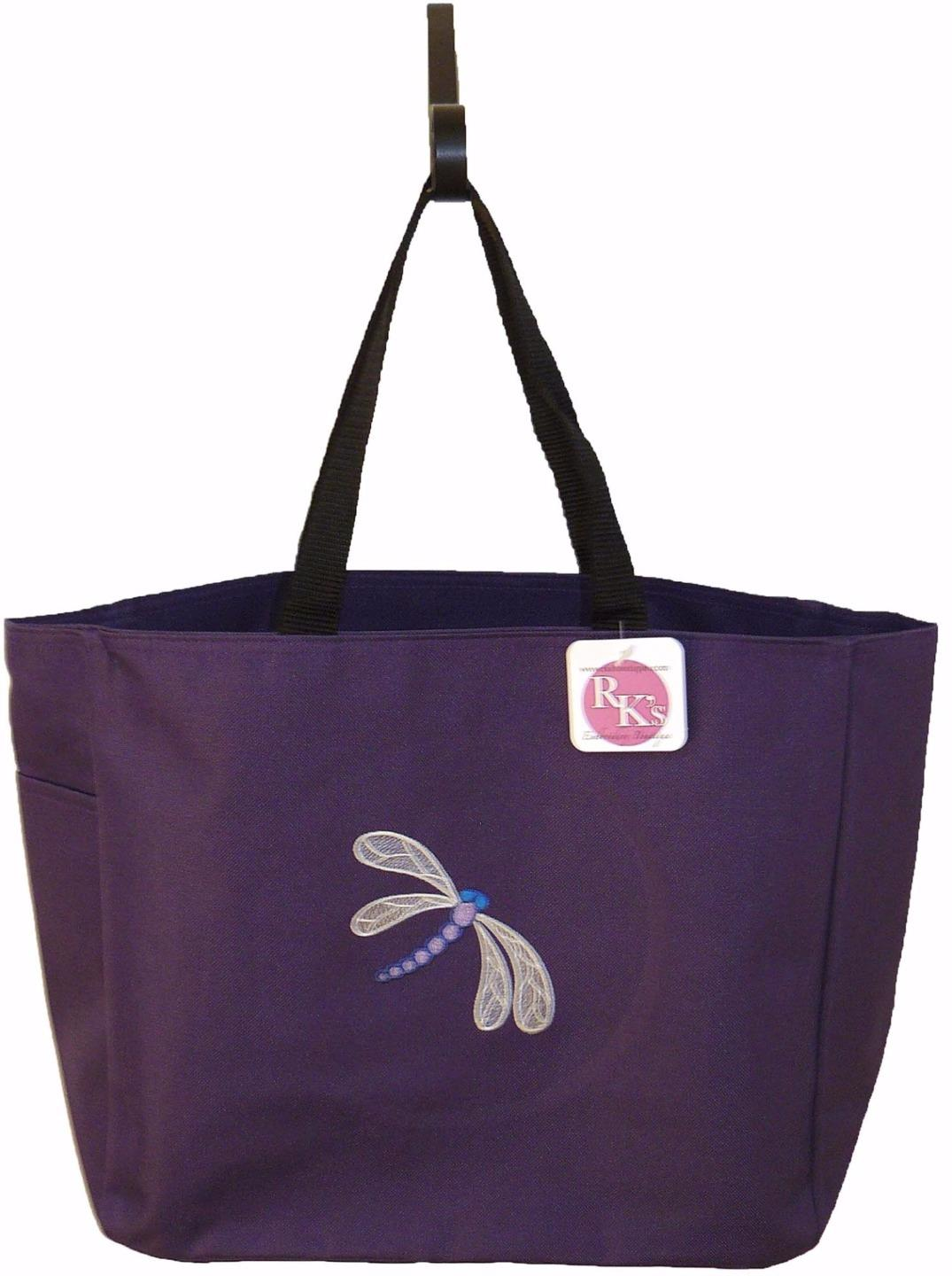 Intricate dragonfly beach bag monogram custom embroidered