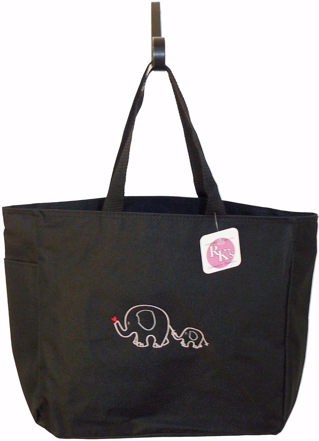 Mom baby elephant cute drawing diaper bag free name