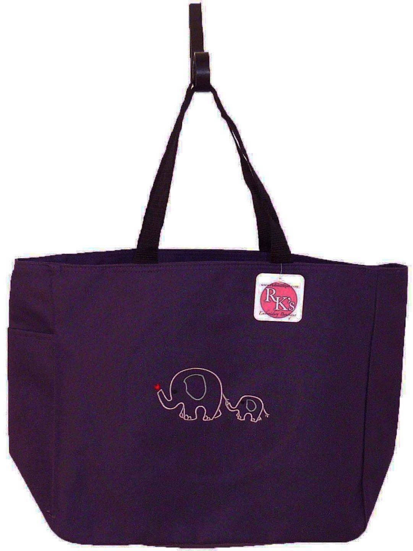 Mom baby elephant cute drawing diaper bag free name