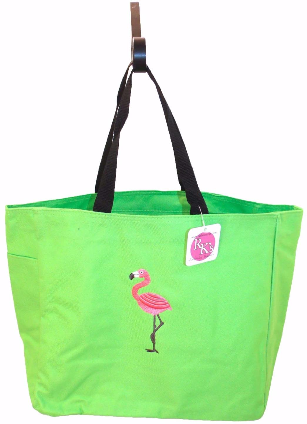 Flamingo tropical bird vacation beach bag custom