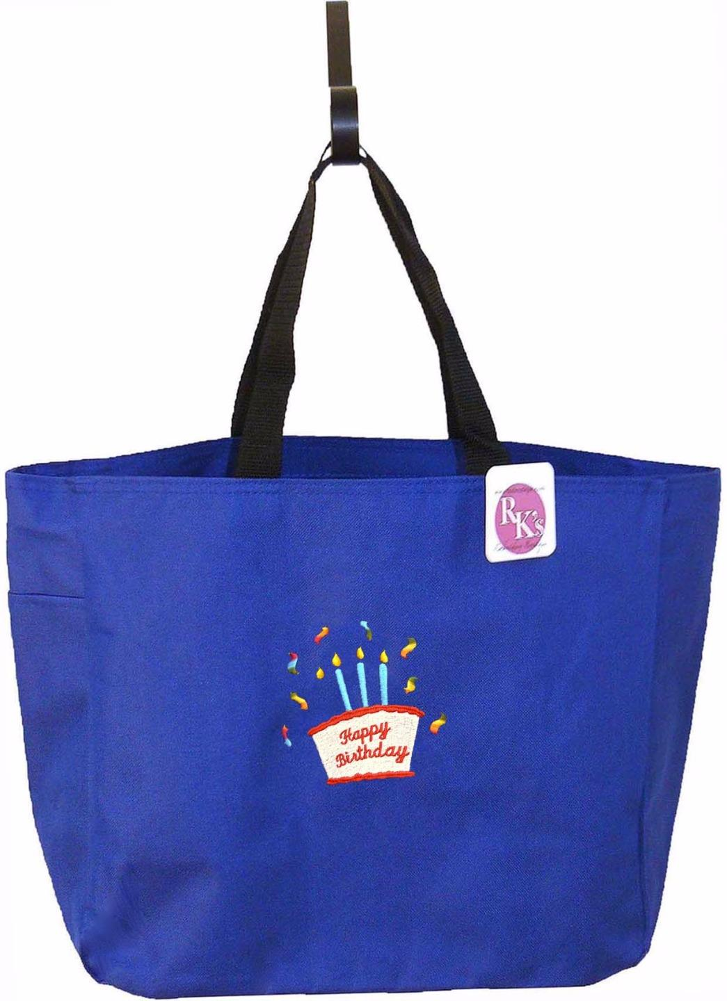 happy birthday cake candles celebration custom embroidered essential tote bag ebay. Black Bedroom Furniture Sets. Home Design Ideas