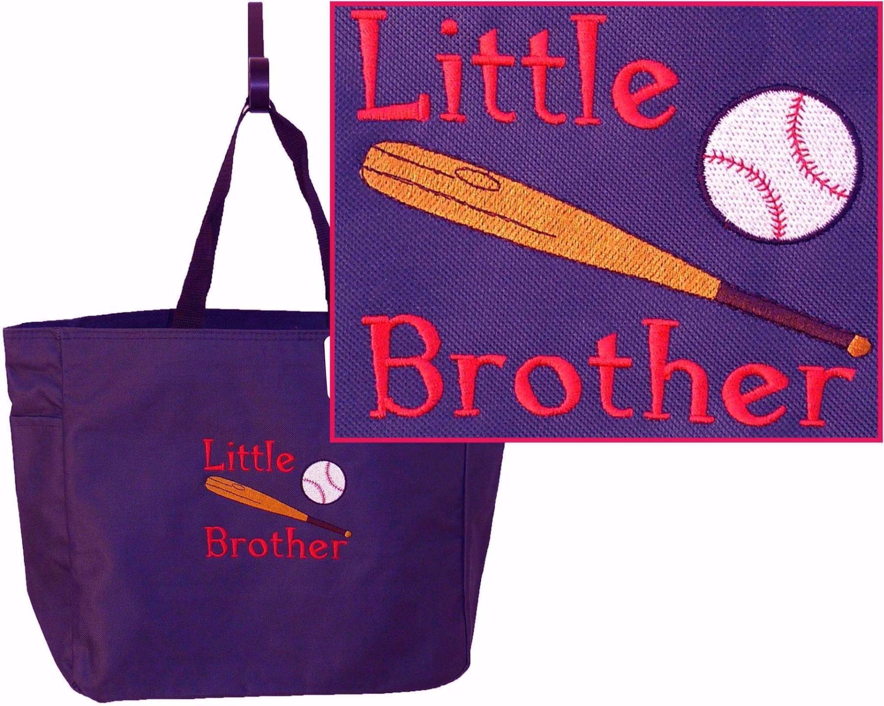 Little brother baseball bat ball essential tote monogram