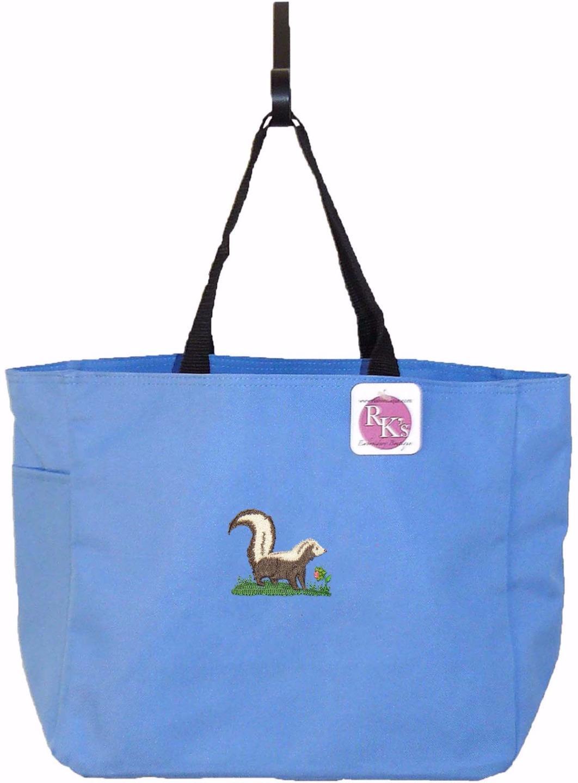 Cute Skunk U0026 Flower Essential Tote Bag + Free Name Monogram Custom Embroidered   EBay