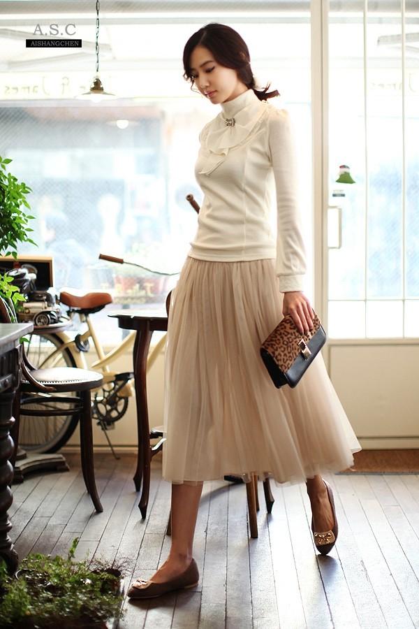 Cream Colored Summer Long Skirt Net Yarn Bohemia Women
