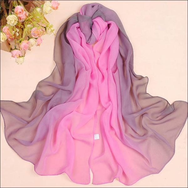 Womens-Ladies-Fashion-Rainbow-Color-Long-Shawl-Scarf-Chiffon-Georgette