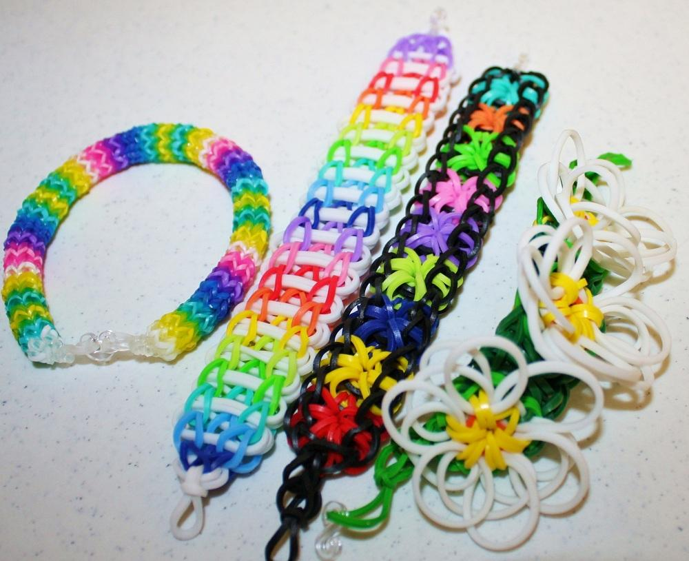 lot of 4 rainbow loom bracelets hexafish 6pinflowers