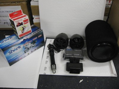 Pounding Black Motorcycle Audio package. 250w system+subwoofer+