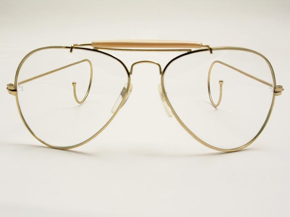 Glasses Frames Cable Temple : Mens Large Vintage Pilot Cable Temple Gold Aviator ...