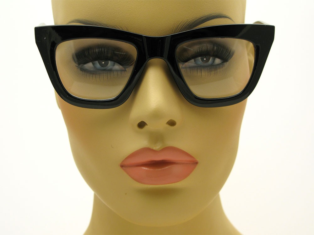 50's Vintage Cat Eye Style Square Black Thick Frame ...