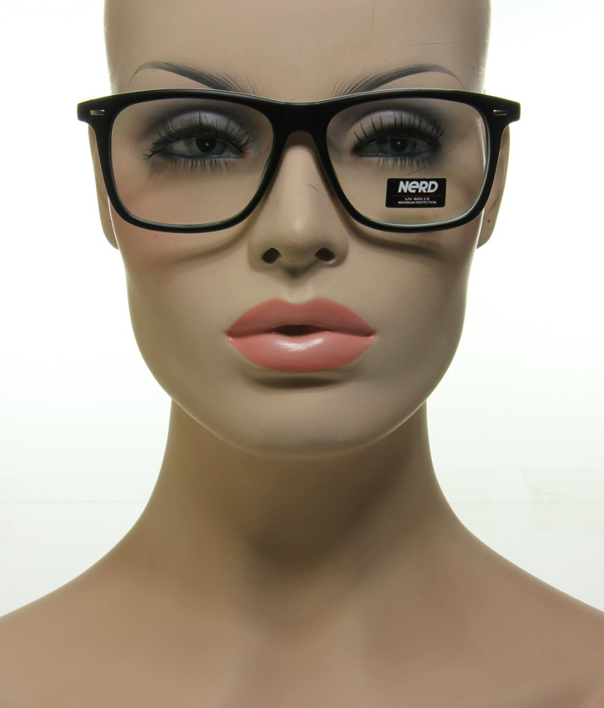 New Classic Hot Nerd Glasses Flat Black & White Frame ...