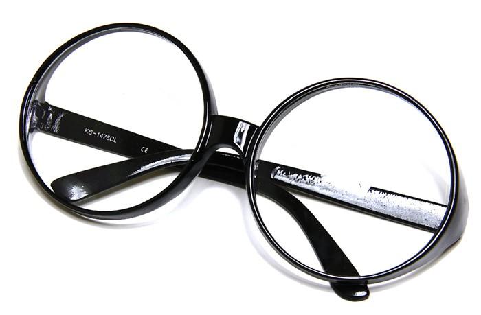 Black Frame Clear Lens Large Round Retro Wanka Oversized ...