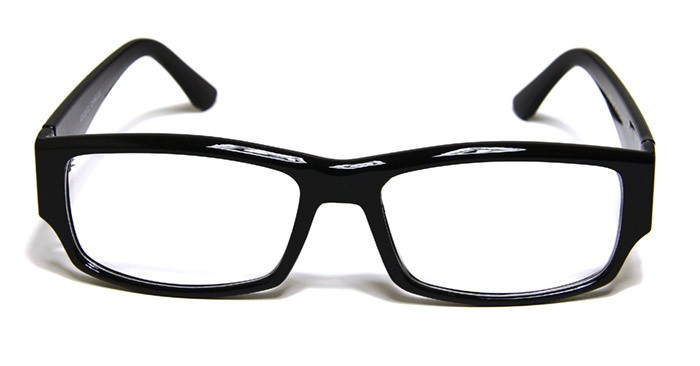 Large Rectangular Glasses Frame : Black Frame Rectangle Cool Retro Fashion Glasses Clear ...