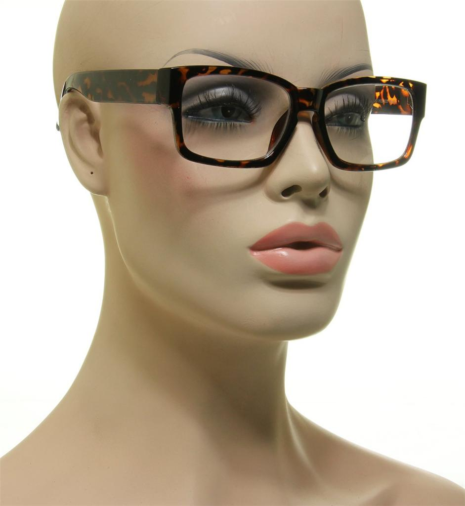 Brown Tortoise Frame Square Clear Lens Key Hole Glasses ...