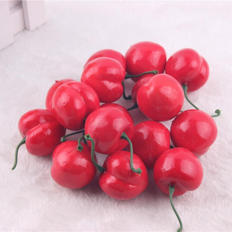 30 pieces mini red cherry artificial lifelike plastic home for Artificial cherries decoration