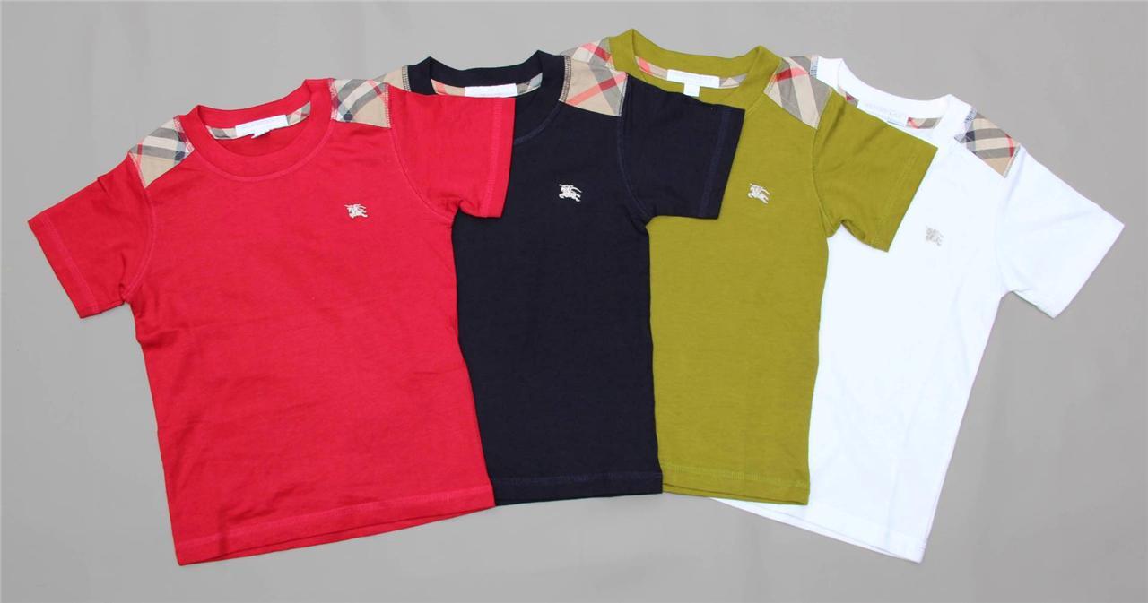 New Authentic Burberry Shoulder Patch Boys T Shirt Size 4