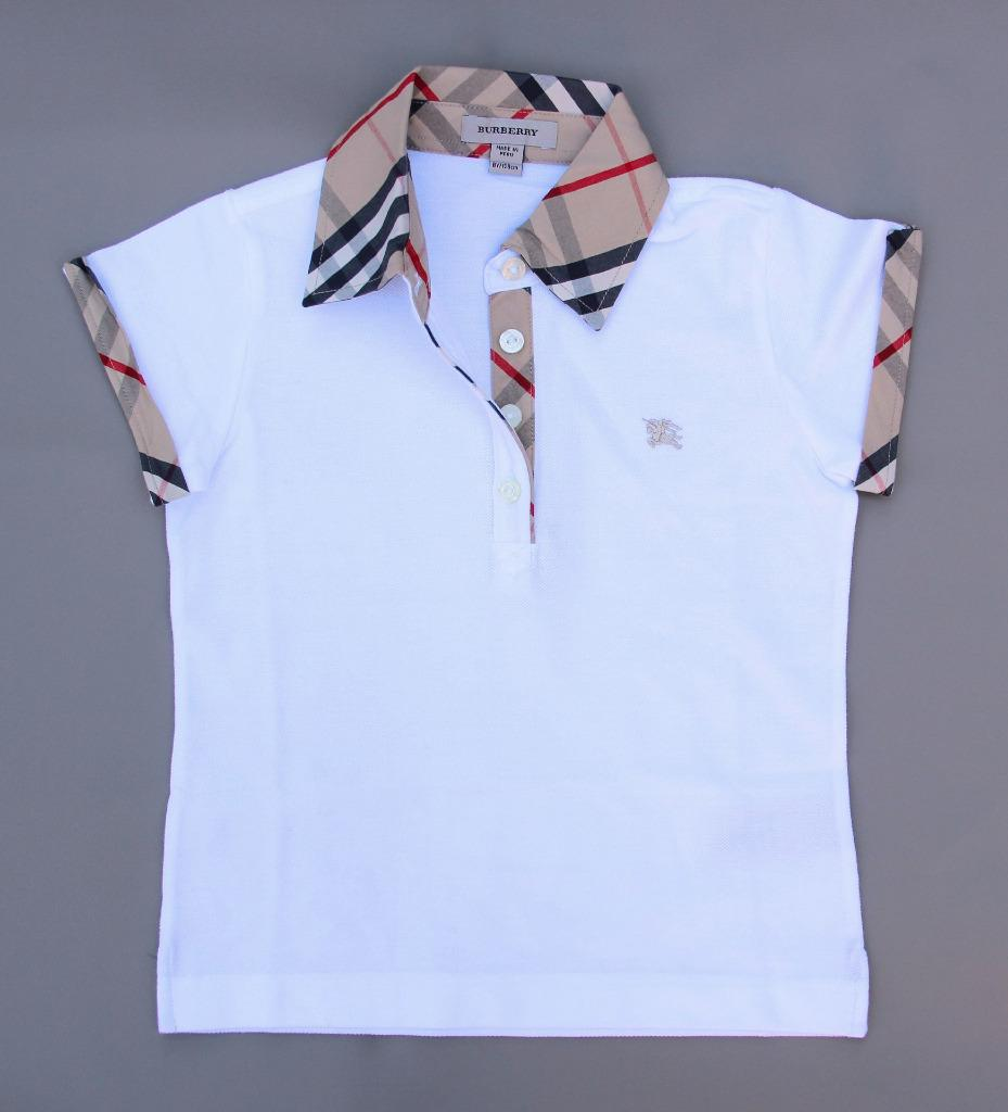 new authentic burberry girls check collar polo shirt t