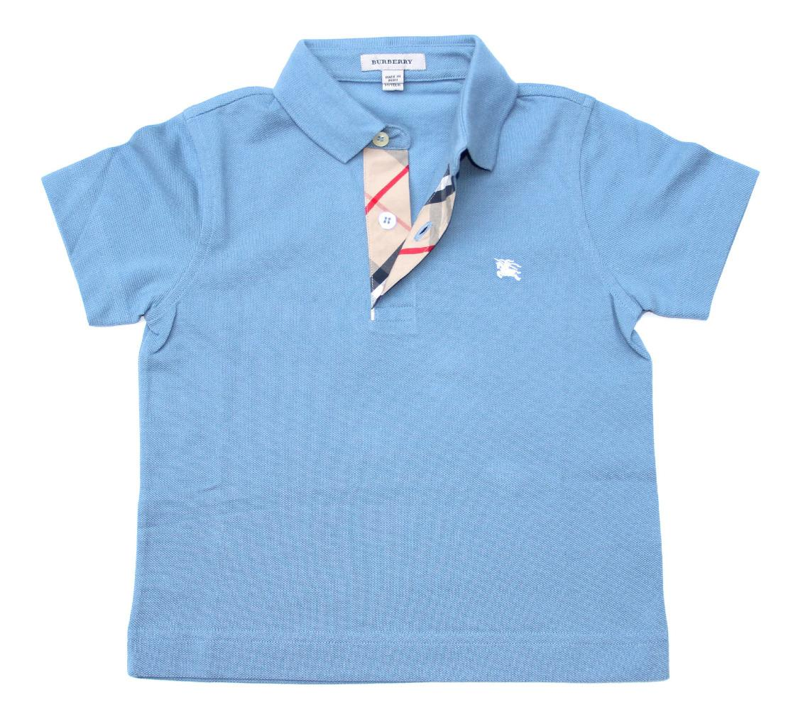 New authentic burberry boys check placket polo shirt t for What size shirt for 8 year old boy