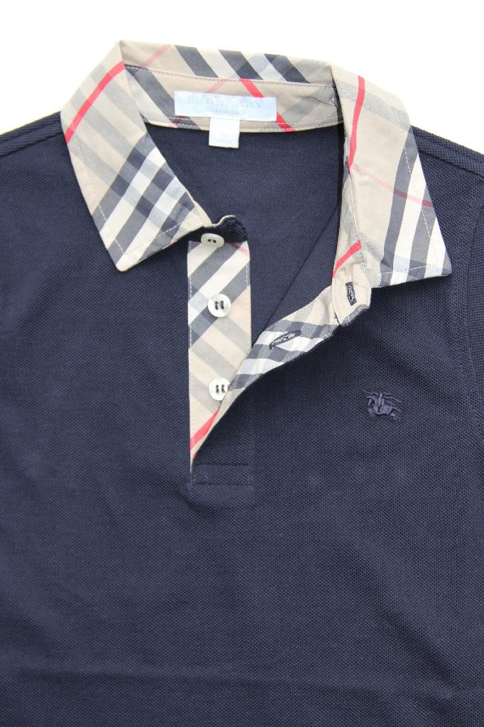 New authentic burberry check collar boys polo shirt t for 7 year old boy shirt size