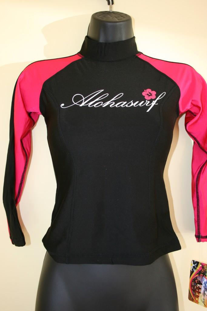 Alohasurf ladies rash guard surf shirt spf 50 rglls blk for Shirts with sunscreen in them
