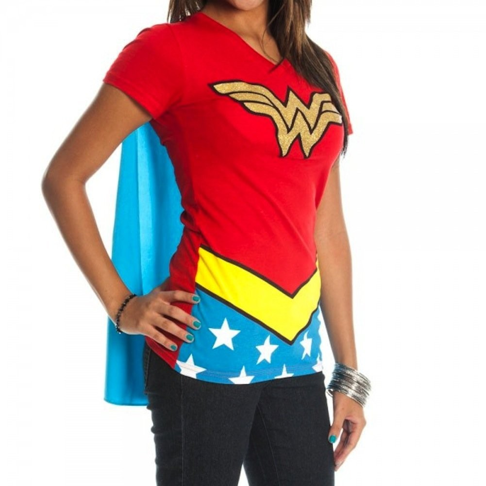 Official licensed wonder woman glitter logo w cape for Costume t shirts online