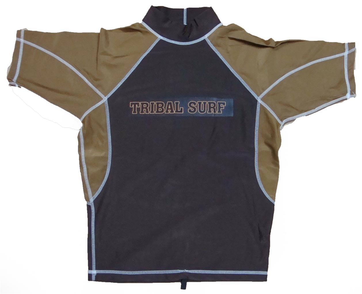 Mens spf 50 surf shirt rash guard short sleeve small thru for Shirts with sunscreen in them