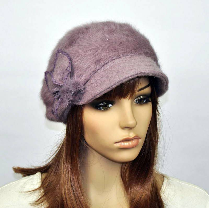 M82 Cute Rabbit Fur Soft Wool Brim Hat Women's Winter ...