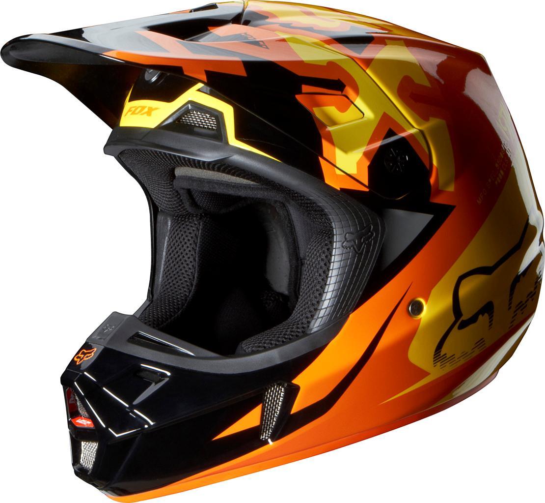 2014 fox racing v2 anthem helmet orange 07126 009. Black Bedroom Furniture Sets. Home Design Ideas