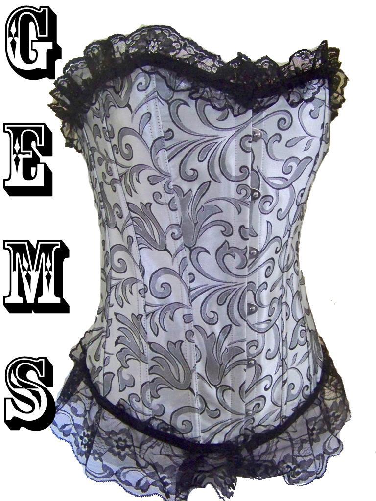 Silver-Black-Bustier-Corset-Burlesque-Skirts-Lingerie-Size-8-10-12-14-16