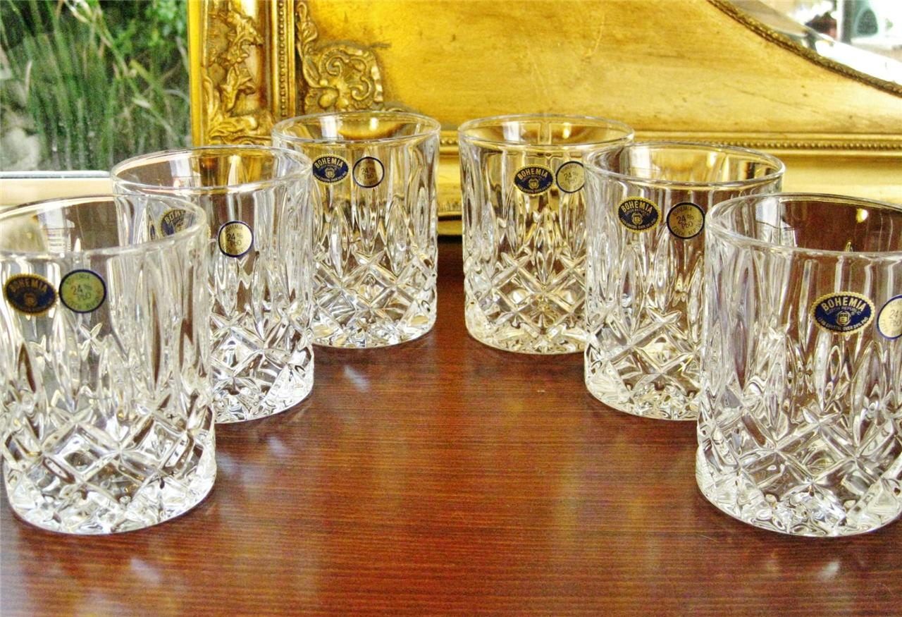 Set-of-6-BOHEMIA-crystal-large-water-Whiskey-tumblers-Heavy-based-NEW