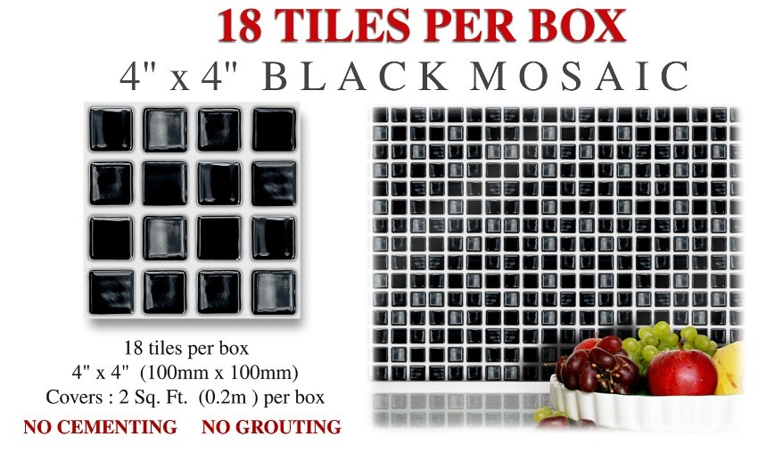 eBay Image Hosting at www auctiva com. 18 Stick  amp  Go Black   039 Mosaic  039  Stick On Wall Tiles