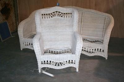ethan allen wicker furniture chair sofa chaise lounge