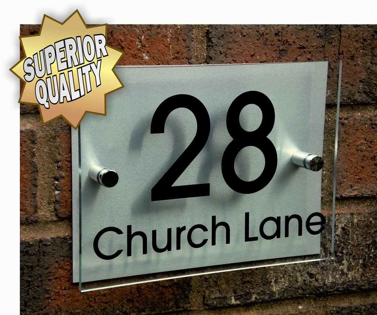 Modern house name number sign plaque aluminium acrylic ebay for Modern house names