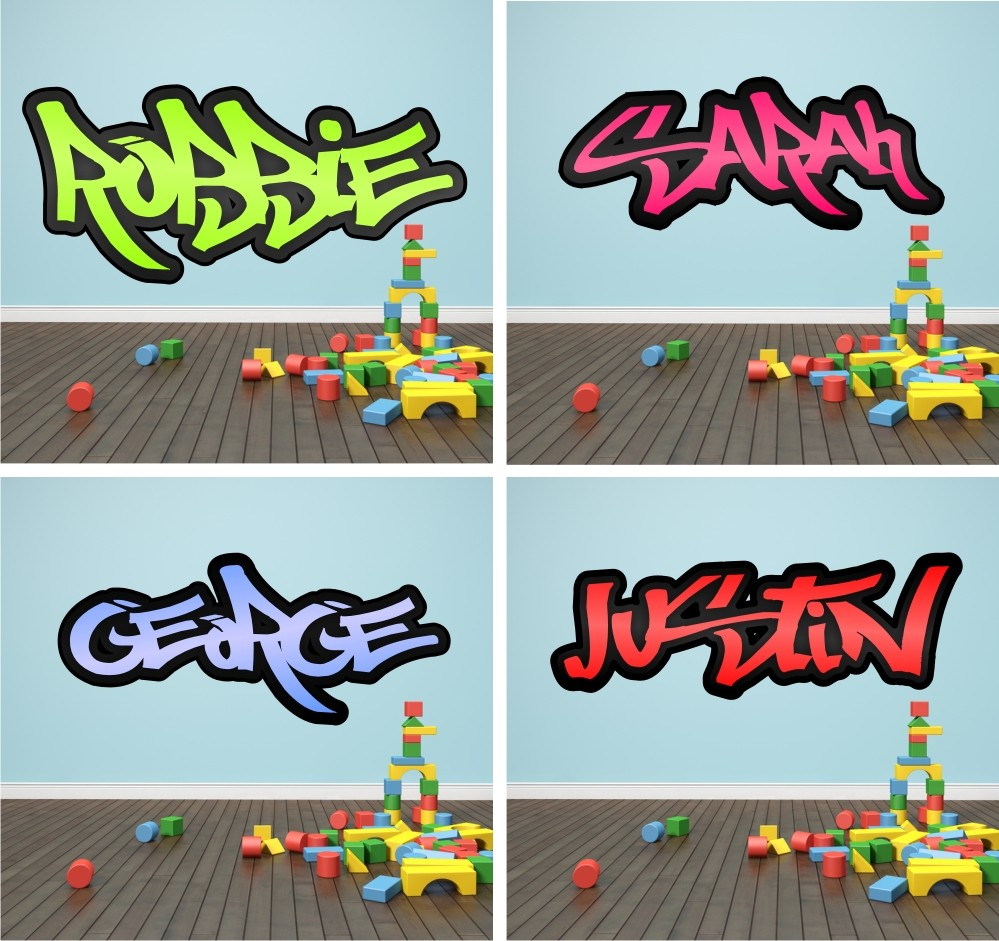 Sticker wall graffiti - Details About Personalised Graffiti Name Wall Sticker Decal Graphic Personalised Blue Graffiti Wall Stickers By Nest